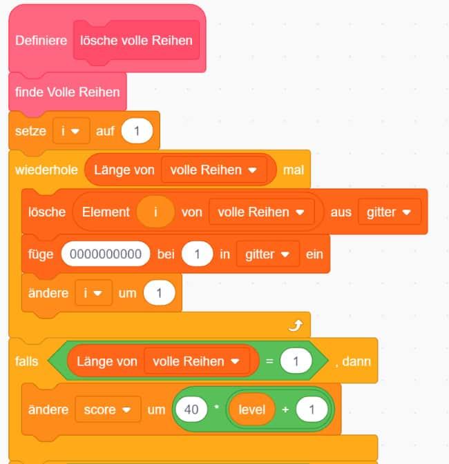 Scratch Tetris – Den Score erhöhen