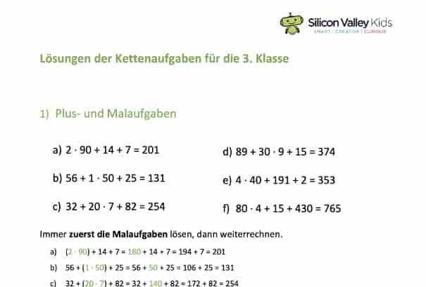 Lösungen der Kettenaufgaben Klasse 3