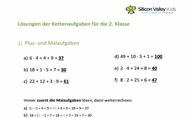 Kettenaufgabe Klasse 2: Lösung