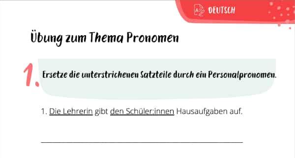 Arbeitsblatt zu Pronomen