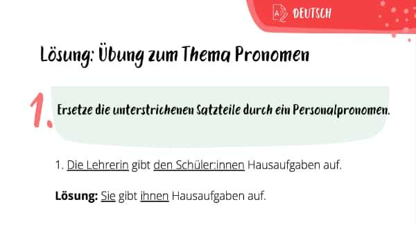 Lösung zum Übungsblatt Pronomen