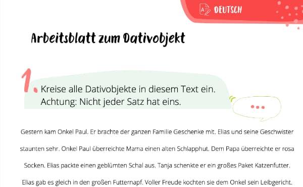Dativobjekt Arbeitsblatt