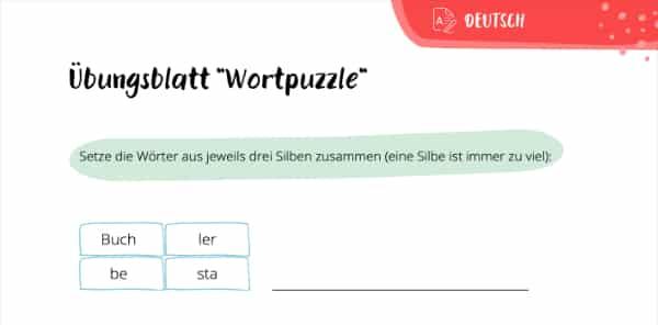 Wortpuzzle – Übung zum Silben trennen